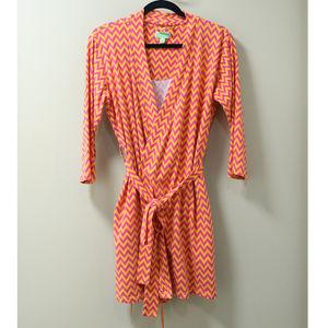 Vera Brandly Pink & Orange Chevron Robe S/M